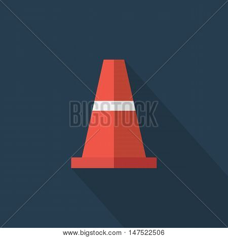 Traffic cone Flat design style vector illustration. long shadow icon