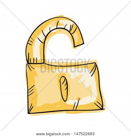 lock security safety safeguard object closed. draw design. vector illustration