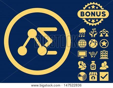 Chemical Formula icon with bonus images. Vector illustration style is flat iconic symbols, yellow color, blue background.