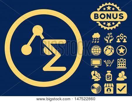 Chemical Formula icon with bonus design elements. Vector illustration style is flat iconic symbols, yellow color, blue background.