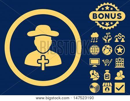 Clergy icon with bonus design elements. Vector illustration style is flat iconic symbols, yellow color, blue background.