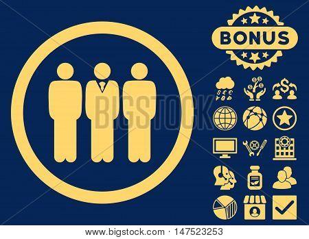 Clerk Staff icon with bonus symbols. Vector illustration style is flat iconic symbols, yellow color, blue background.