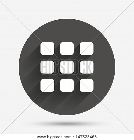 Thumbnails grid sign icon. Gallery view option symbol. Circle flat button with shadow. Vector