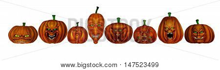 Eight different Halloween pumpkins isolated in white background - 3D render