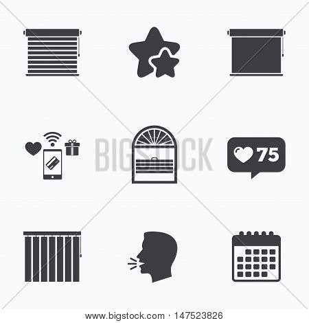 Louvers icons. Plisse, rolls, vertical and horizontal. Window blinds or jalousie symbols. Flat talking head, calendar icons. Stars, like counter icons. Vector