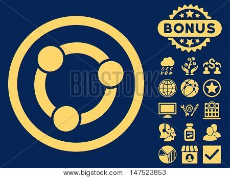 Collaboration icon with bonus pictures. Vector illustration style is flat iconic symbols, yellow color, blue background.