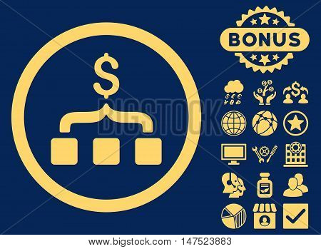 Collect Money icon with bonus images. Vector illustration style is flat iconic symbols, yellow color, blue background.