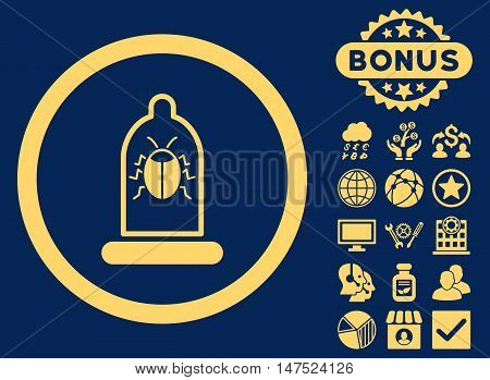 Condom Bug icon with bonus design elements. Vector illustration style is flat iconic symbols, yellow color, blue background.