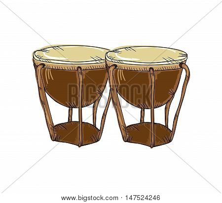 bongos drum musical instrument. traditional music element. vector illustration
