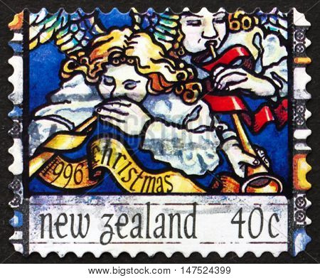 NEW ZEALAND - CIRCA 1996: a stamp printed in New Zealand shows Angel's Announcement to Shepherd Christmas circa 1996