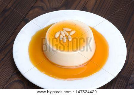 Panna Cotta - Italian Dessert With Caramel Sauce