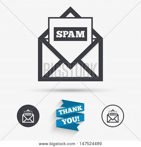 Mail icon. Envelope symbol. Message spam sign. Mail navigation button. Flat icons. Buttons with icons. Thank you ribbon. Vector