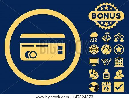 Credit Card icon with bonus pictogram. Vector illustration style is flat iconic symbols, yellow color, blue background.