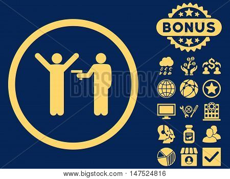 Crime icon with bonus pictogram. Vector illustration style is flat iconic symbols, yellow color, blue background.