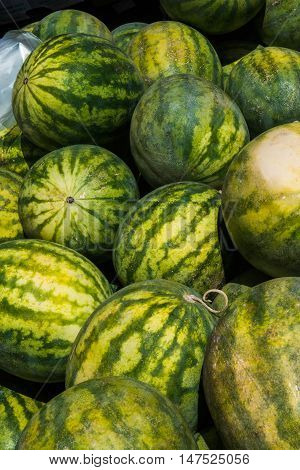 large watermelons at the local farmer's market in Italy