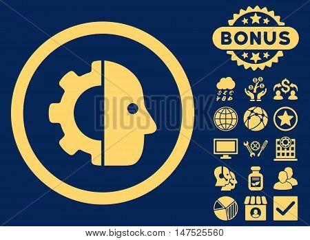 Cyborg icon with bonus elements. Vector illustration style is flat iconic symbols, yellow color, blue background.
