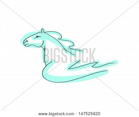 Figure horse with wings on white background abstract image of the mythical horse vector illustration