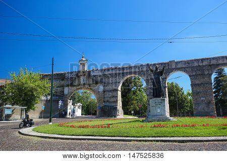 COIMBRA PORTUGAL - JULY 31 2016: Roman aqueduct of Coimbra Portugal