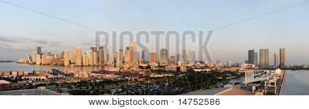 Panoramic view of the city and port of Miami in early morning - stitched from 4 photographs