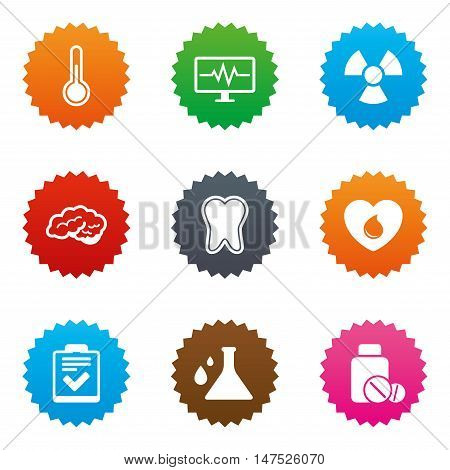 Medicine, medical health and diagnosis icons. Blood donate, thermometer and pills signs. Tooth, neurology symbols. Stars label button with flat icons. Vector