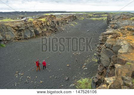 Place Between Two Continents On Iceland, Summer Time