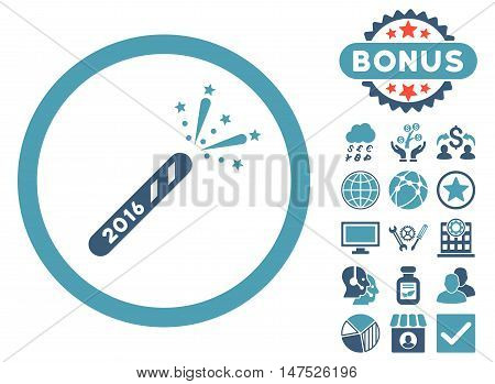 2016 Firecracker icon with bonus elements. Vector illustration style is flat iconic bicolor symbols, cyan and blue colors, white background.
