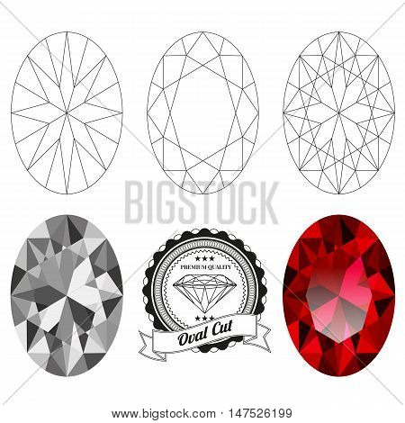 Set of oval cut jewel views isolated on white background. Oval cut jewel top and bottom views. Oval cut realistic ruby. Oval cut realistic diamond. Oval cut badge.