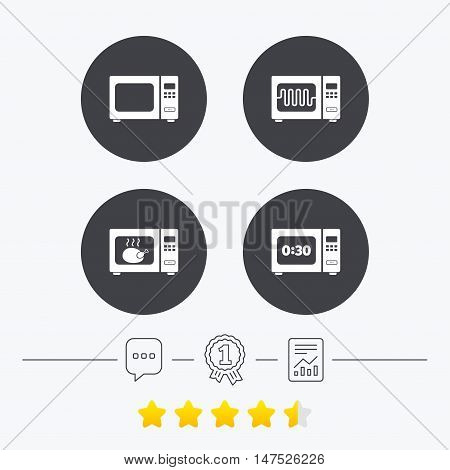 Microwave oven icons. Cook in electric stove symbols. Grill chicken with timer signs. Chat, award medal and report linear icons. Star vote ranking. Vector