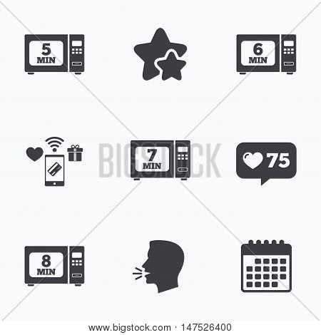 Microwave oven icons. Cook in electric stove symbols. Heat 5, 6, 7 and 8 minutes signs. Flat talking head, calendar icons. Stars, like counter icons. Vector