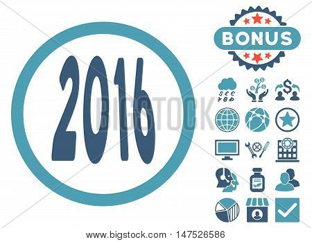 2016 Perspective icon with bonus pictogram. Vector illustration style is flat iconic bicolor symbols, cyan and blue colors, white background.