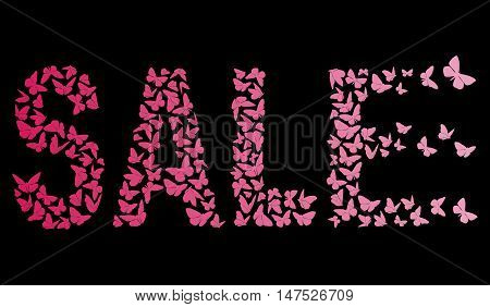 decorative inscription SALE With Pink Butterflies On The Black Background