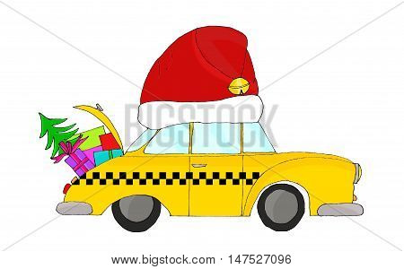 Yellow taxi cab wearing a red Santa's hat for the holidays