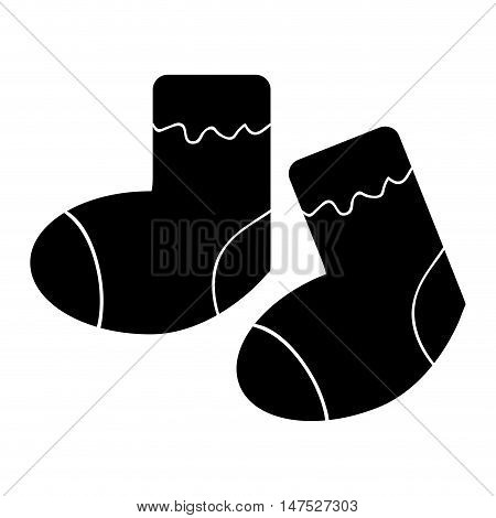 baby pair of socks. newborn clothes silhouette. vector illustration
