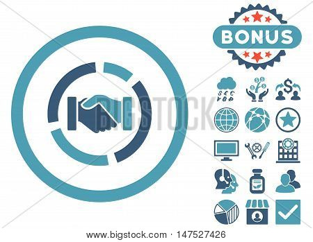 Acquisition Diagram icon with bonus images. Vector illustration style is flat iconic bicolor symbols, cyan and blue colors, white background.