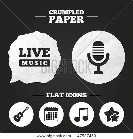 Crumpled paper speech bubble. Musical elements icons. Microphone and Live music symbols. Music note and acoustic guitar signs. Paper button. Vector