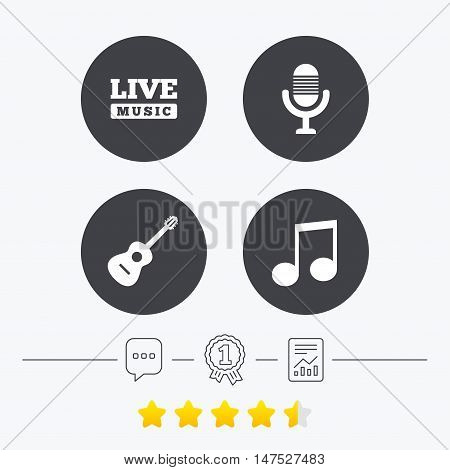 Musical elements icons. Microphone and Live music symbols. Music note and acoustic guitar signs. Chat, award medal and report linear icons. Star vote ranking. Vector