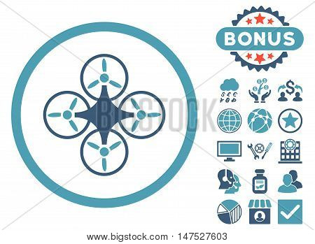 Air Drone icon with bonus design elements. Vector illustration style is flat iconic bicolor symbols, cyan and blue colors, white background.