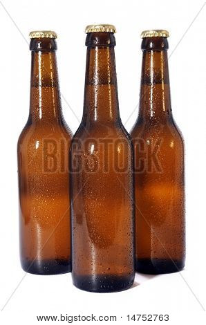 Beer bottles isolated over white background