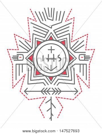 Hand drawn vector illustration or drawing of a composition of religious symbols in an indigenous style