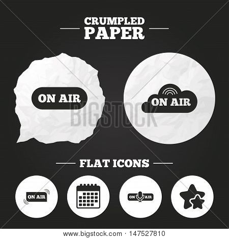 Crumpled paper speech bubble. On air icons. Live stream signs. Microphone symbol. Paper button. Vector