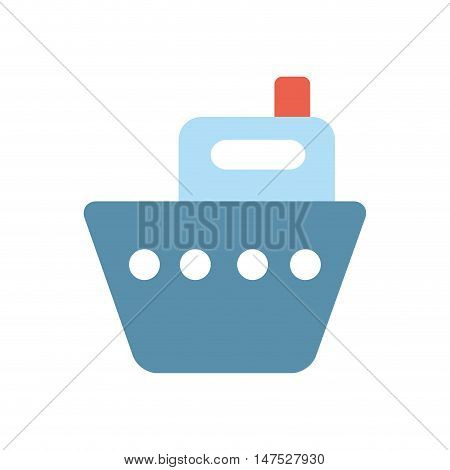 sailboat ship. nautical cruise with red flag. vector illustration