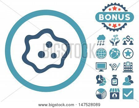 Amoeba icon with bonus elements. Vector illustration style is flat iconic bicolor symbols, cyan and blue colors, white background.