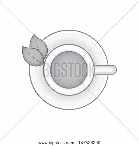 Herbal tea cup icon in black monochrome style isolated on white background vector illustration