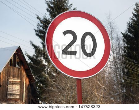 speed restriction of 20km/h road sign on the street