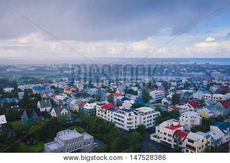 Beautiful Super Wide-angle Aerial View Of Reykjavik, Iceland With Harbor And Skyline Mountains And S