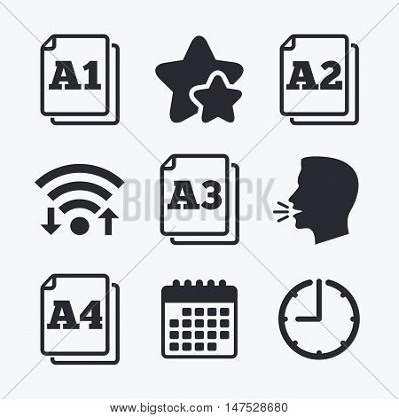 Paper size standard icons. Document symbols. A1, A2, A3 and A4 page signs. Wifi internet, favorite stars, calendar and clock. Talking head. Vector