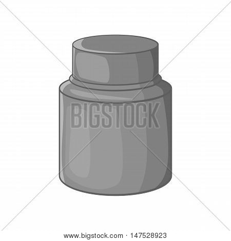 Cream plastic jar icon in black monochrome style isolated on white background vector illustration