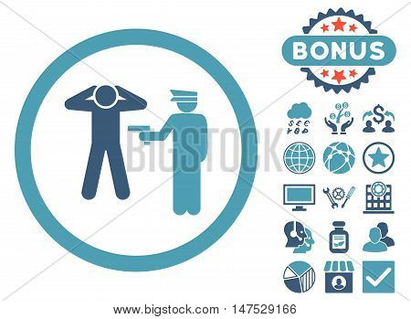 Arrest icon with bonus images. Vector illustration style is flat iconic bicolor symbols, cyan and blue colors, white background.