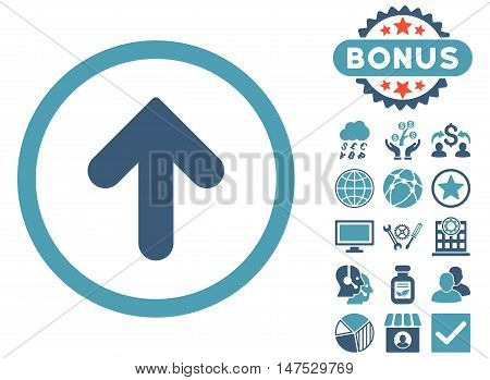 Arrow Up icon with bonus elements. Vector illustration style is flat iconic bicolor symbols, cyan and blue colors, white background.