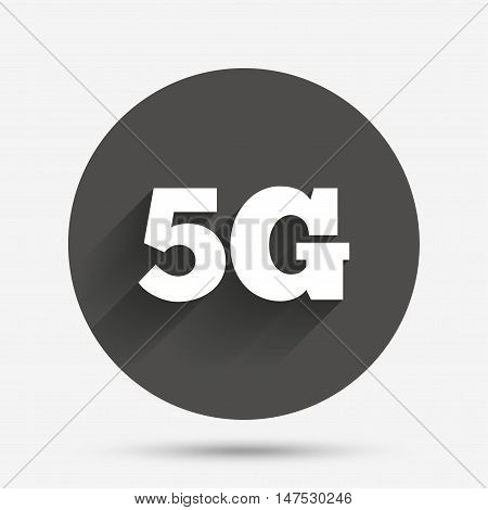 5G sign icon. Mobile telecommunications technology symbol. Circle flat button with shadow. Vector